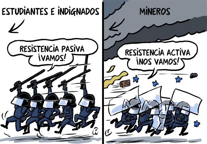 estudiantes-e-indignados-resistencia-pasiva-mineros-resistencia-activa